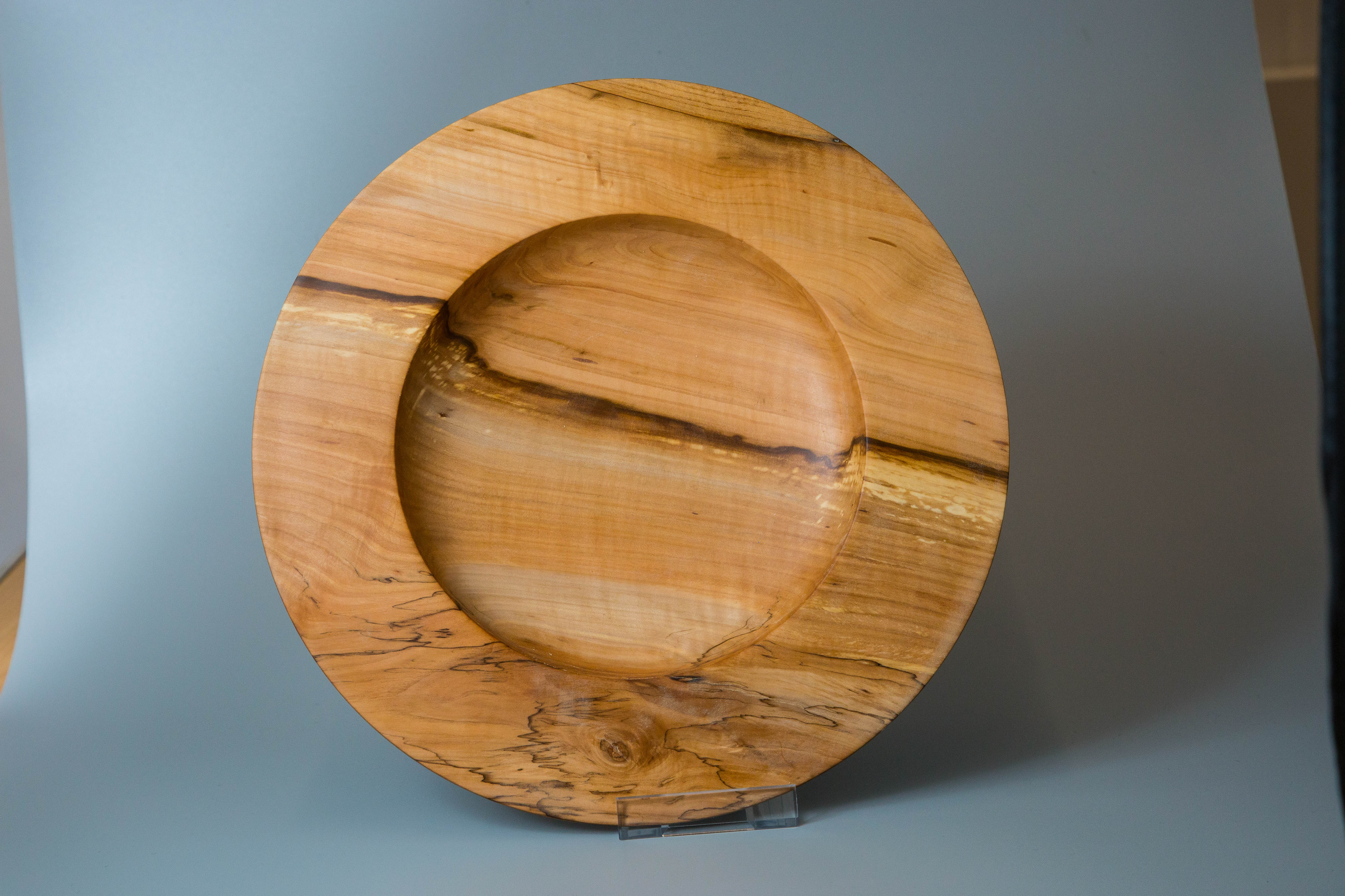 A platter in Sweet Chestnut Burl by Mick Curran