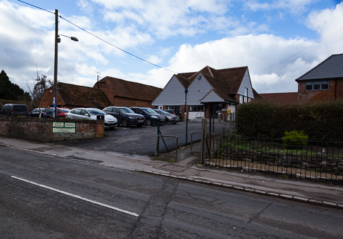 A view of Harwell village hall from the     		High Street